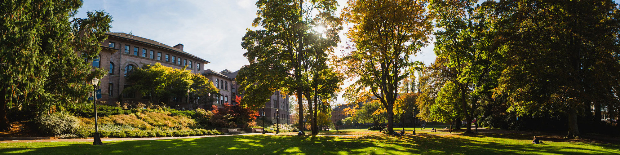 Lawn in front of Old Main during summer with sun shining through trees